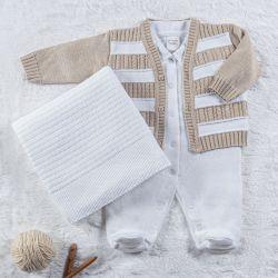 Saída Maternidade Tricot Casaquinho Listrado Branco e Cáqui 03 Peças