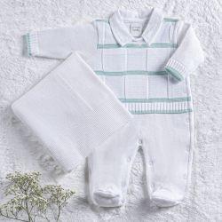 Saída Maternidade Tricot Macacão Listrado Verde Água 02 Peças