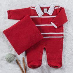 Saída Maternidade Tricot Macacão Listrado Vermelho e Branco 02 Peças