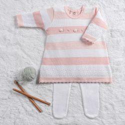 Saída Maternidade Tricot Vestido Rococó Rosa e Branco 02 Peças