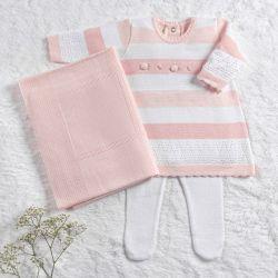 Saída Maternidade Tricot Vestido Rococó Rosa e Branco 03 Peças