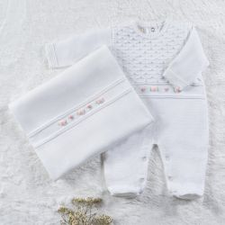 Saída Maternidade Tricot Macacão Rococó Branco 02 Peças
