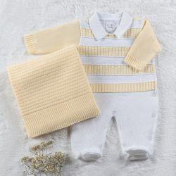 Saída Maternidade Tricot Macacão Listrado Amarelo Baunilha 02 Peças