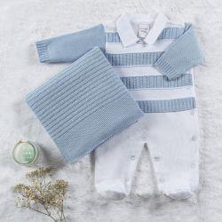 Saída Maternidade Tricot Macacão Listrado Azul Céu 02 Peças