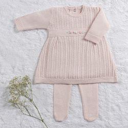 Saída Maternidade Tricot Vestido Rococó Rosa Quartz 02 Peças