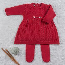 Saída Maternidade Tricot Vestido Rococó Vermelho 02 Peças