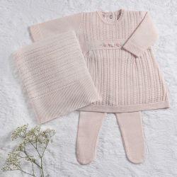 Saída Maternidade Tricot Vestido Rococó Rosa Quartz 03 Peças