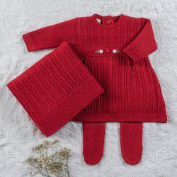 Saída Maternidade Tricot Vestido Rococó Vermelho 03 Peças