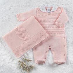 Saída Maternidade Tricot Macacão Rococó Rosa Bebê 02 Peças