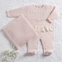 Saída Maternidade Tricot Macacão Renda e Rococó Rosa 02 Peças