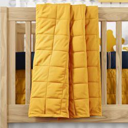 Edredom de Berço Matelassê Quadriculado Amarelo