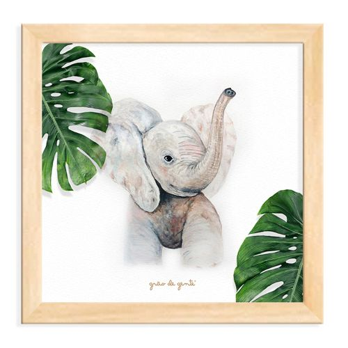 Quadro Elefante Safári Baby Madeira