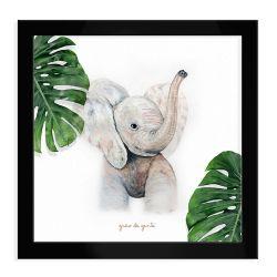 Quadro Elefante Safári Baby Preto