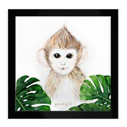 Quadro Macaco Safári Baby Preto
