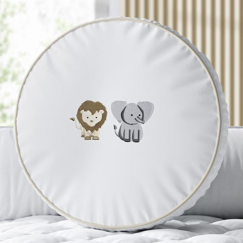 Almofada Redonda Elefante e Leão Safári Baby 30cm