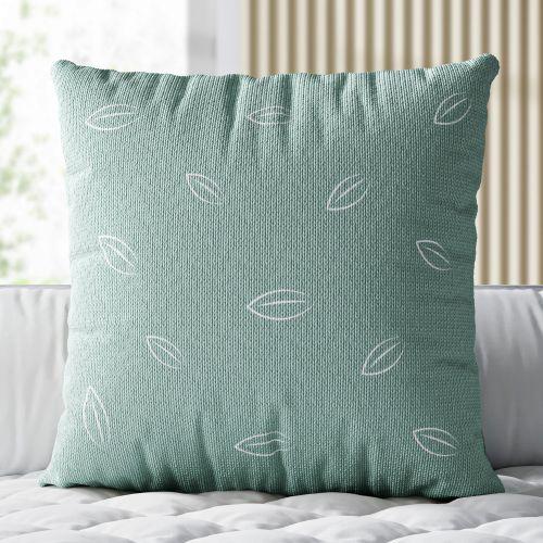 Almofada Quadrada Tricot Folha Verde Malva 38cm