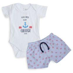 Conjunto Body e Shorts Caranguejo Azul