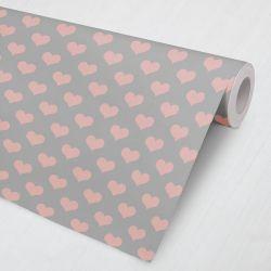 Papel de Parede Corações Rosa e Cinza 3M