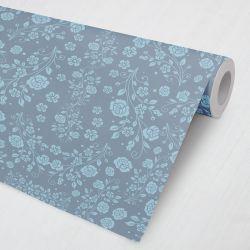 Papel de Parede Ramos, Folhas e Flores Azul e Verde Água 3M