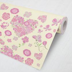 Papel de Parede Coração de Flores Rosa e Amarelo 3M