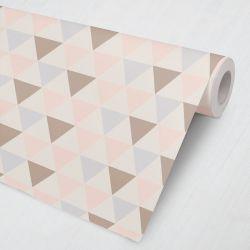 Papel de Parede Geométrico Triângulos Lilás, Rosé e Nude 3M