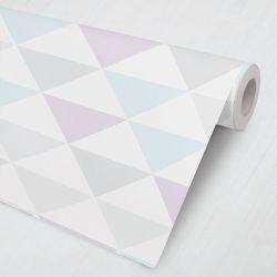 Papel de Parede Triângulos Geométricos Azul Claro e Lilás 3M