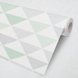 Papel de Parede Geométrico Triângulo Cinza, Verde e Branco 3M