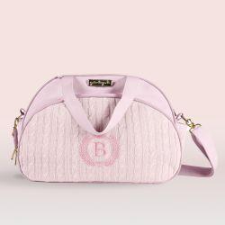Bolsa Maternidade Personalizada Tricot Rosa 40cm