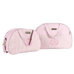 Conjunto de Mala e Frasqueira Maternidade Personalizado Tricot Rosa 02 Peças
