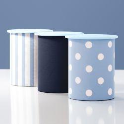 Jogo de Potes Listras e Bolinhas Azul