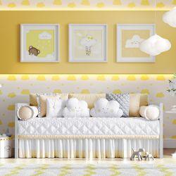 Kit Cama Babá Amiguinhas Nuvem Amarelo