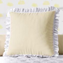 Almofada Quadrada Amarela Babadinho Branco 38cm