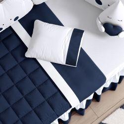 Jogo de Lençol Branco/Azul Marinho