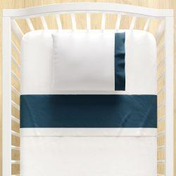 Jogo Lençol de Berço Azul Marinho e Branco 3 peças