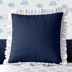 Almofada Quadrada Azul Marinho Babadinho Branco 38cm