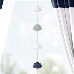 Pêndulo Cortina Nuvem Azul Marinho/Branco
