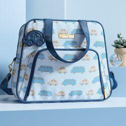Bolsa Maternidade Carrinhos Azul e Bege 34cm