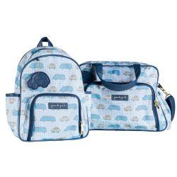Conjunto de Mochila e Bolsa Maternidade Carrinhos Azul Marinho