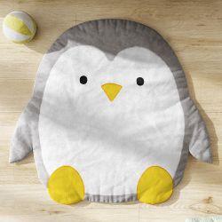 Tapete Pinguim Cinza e Amarelo 90cm