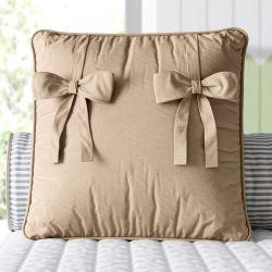 Almofada Quadrada Laços Marrom Amendoado 38cm