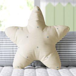 Almofada Estrela Estampada Bege e Cinza 30cm