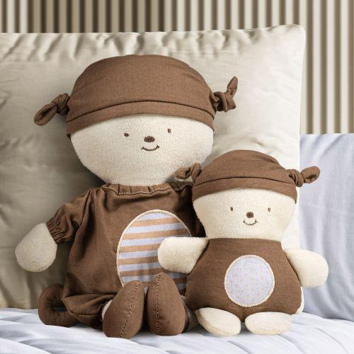 Bonecos de Pano Nózinho Mamãe e Bebê Macaquinho