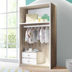 Closet Infantil Montessoriano 2 Gavetas Maria Madeira/Branco