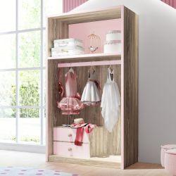 Closet Infantil Montessoriano 2 Gavetas Maria Madeira/Rosa