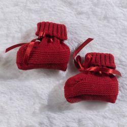 Sapatinho para Bebê Tricot Vermelho