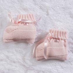 Sapatinho para Bebê Tricot Rosa