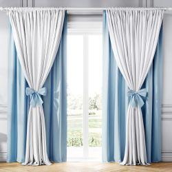 Cortina Clássica com Laços Branco e Azul