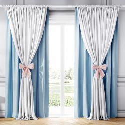 Cortina Clássica com Laços Branco, Azul e Rosa