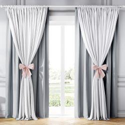 Cortina Clássica com Laços Branco, Cinza e Rosa