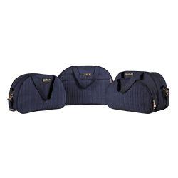 Conjunto de Mala, Frasqueira e Bolsa Maternidade Tricot Azul Marinho 03 Peças